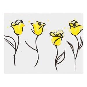 yellow rose drawing line postcard zonta