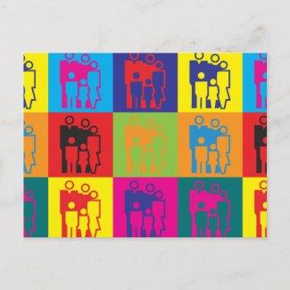 Pop art do trabalho social cartao postal