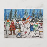 10 Christmas Snowmen Holiday Postcard