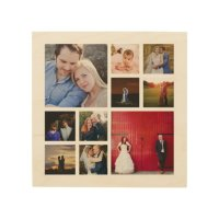 10 Photo Collage Wood Canvas Wall Art | Zazzle