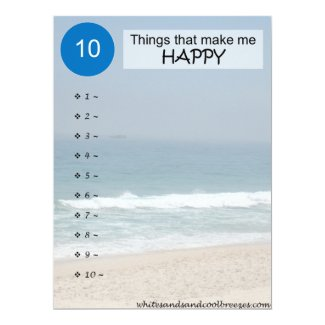 10 Thing that make you HAPPY reminder Card