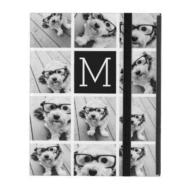 11 Photo Instagram Collage Custom Black Monogram iPad Folio Case