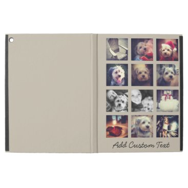 """12 square photo collage with taupe background iPad pro 12.9"""" case"""