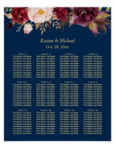tables burgundy floral wedding seating chart also charts zazzle rh