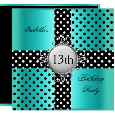 13th Teen Birthday Party Teal Blue Black Polka Dot Card