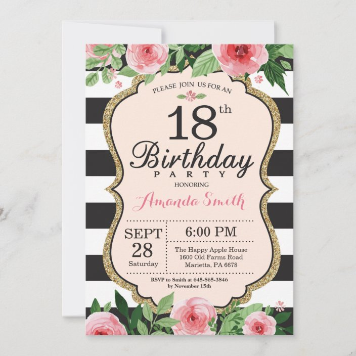 18th birthday invitation floral pink gold black invitation zazzle com