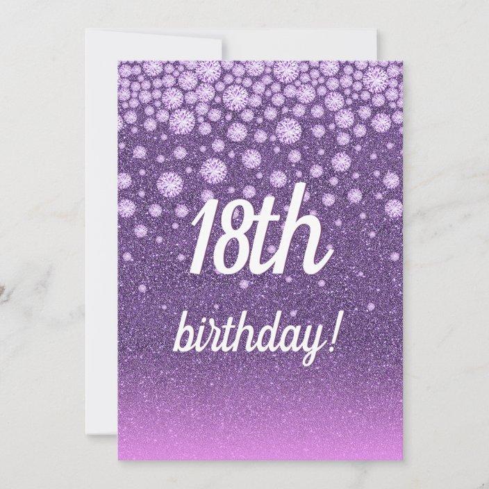 18th birthday party purple pink glitter diamonds invitation zazzle com