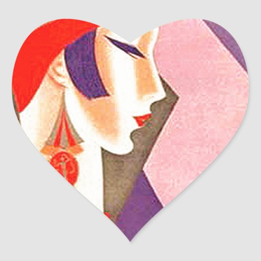 1920s Art Deco Woman Heart Sticker Zazzle