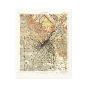 1928 Map of Los Angeles--Wrapped Canvas