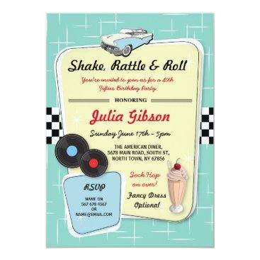 1950s Diner Birthday Party Fifties Retro Invite