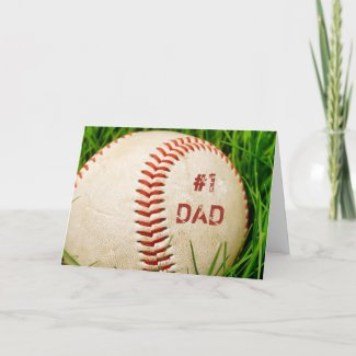 #1 Dad Baseball Greeting Card