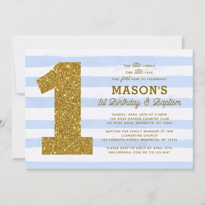 1st birthday baptism invitation boy blue stripes zazzle com