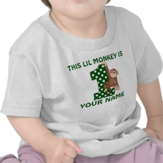 1st Birthday Boy Monkey Personalized Shirt