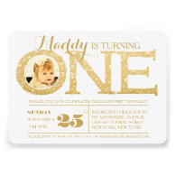 1st Birthday Gold Glitter One Photo Invitation Personalized Invitations