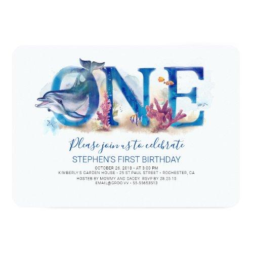 1st Birthday Invitation Under the Sea Ocean Beach