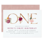 1st Birthday Invitations | Floral Rose Gold