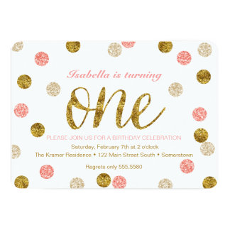 1st Birthday Pink And Gold Glitter Card