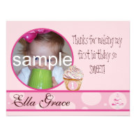 1st Birthday Thank you card Custom Invitation