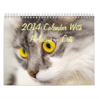 2014 Calendar With Holidays - Cats