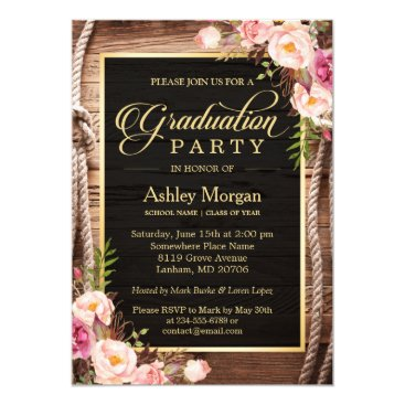 2018 Graduation Party Floral Rustic Country Wooden Invitation