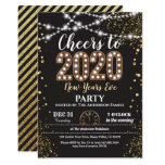 2020 new years eve party black and gold cheers invitation