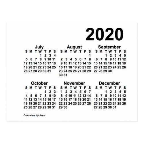 2020 White 6 Month Mini Calendar by Janz Postcard