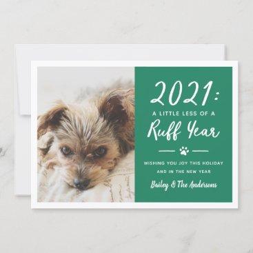 2021 Ruff Year Green Funny Dog Photo Holiday Card