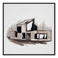 20x20 Abstract House Wall Art Print | Zazzle
