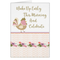 21st Birthday Card with Colorful Chicken