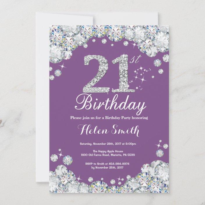 21st birthday invitation purple and silver diamond zazzle com