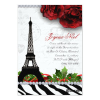 252 Christmas Paris Card Eiffel Tower Zebra
