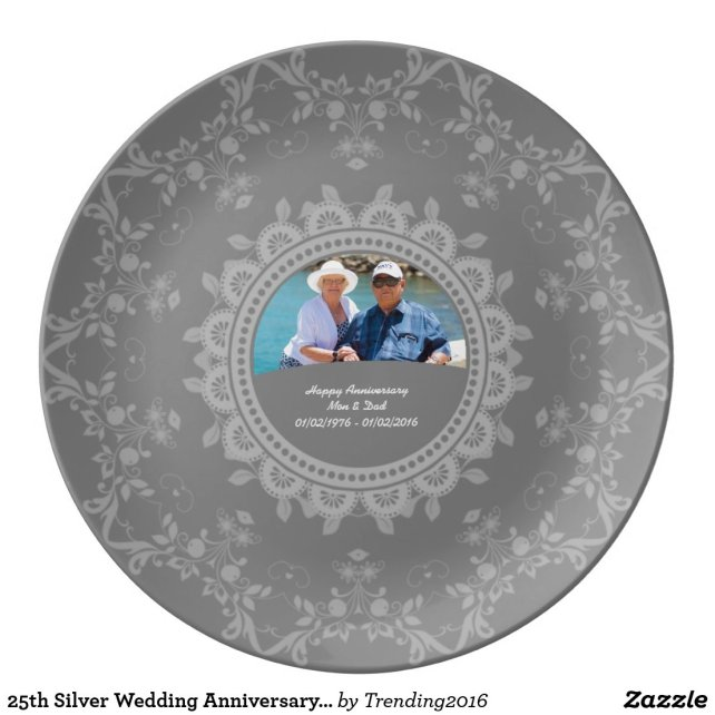 25th Silver Wedding Anniversary 25yrs Photo Dinner Plate