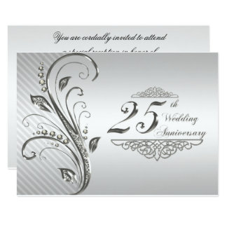 Pink Rose Damask Silver 25th Wedding Anniversary Invitation Ladyprints