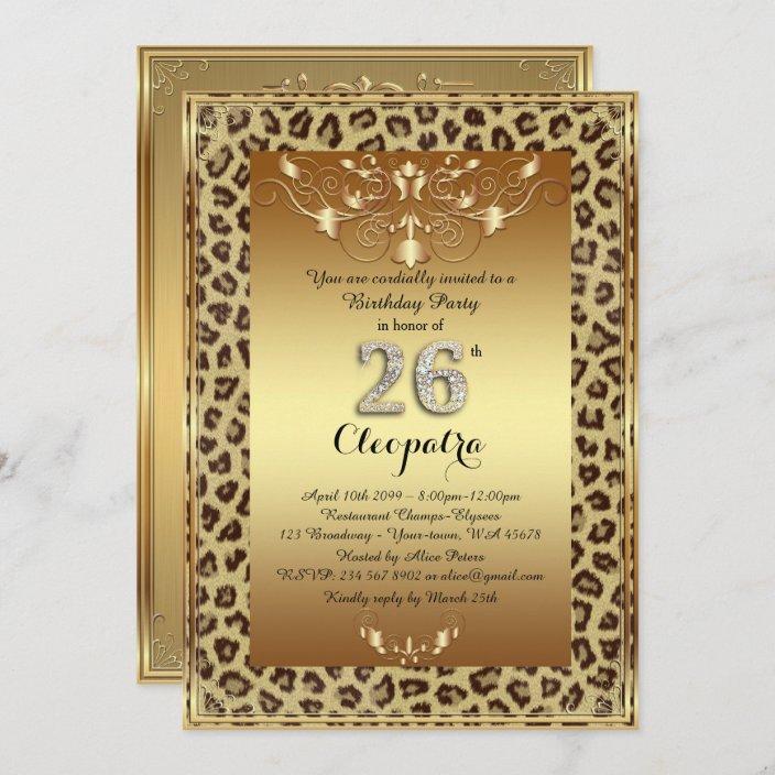 26th birthday party 26th royal cheetah gold plus invitation zazzle com