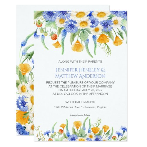 #2 Watercolor Blue Yellow Wildflowers Invitations