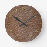 2D Photo-sampled Faux Leather-look Design Round Wall Clock