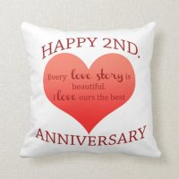 2nd. Anniversary Throw Pillow | Zazzle
