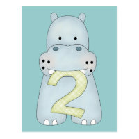 2nd Birthday Hippo Postcard