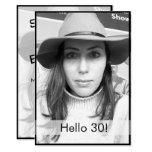 30th Birthday Black White Photo Modern Elegant Invitation