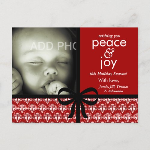 311-Red & Black Christmas Card with Bow postcard