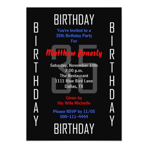 35th Birthday Invitation Wording