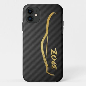 370z Gold Silhouette Logo with faux carbon fiber iPhone 11 Case