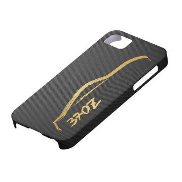 370z Gold Silhouette Logo with faux carbon fiber iPhone SE/5/5s Case