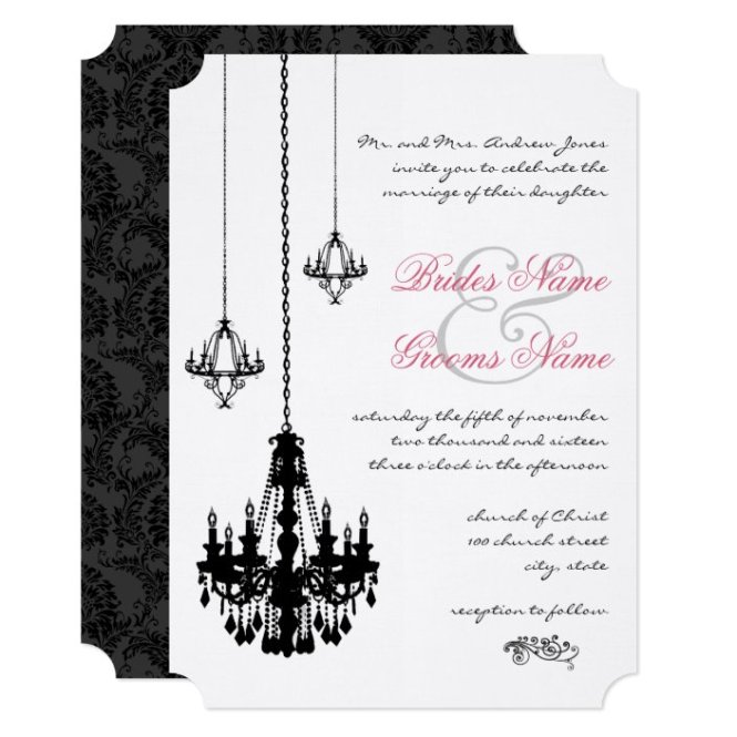 3 Black Chandeliers Wedding Invitations