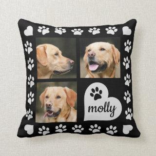 3 Photo Collage Dog Name Black Heart Throw Pillow