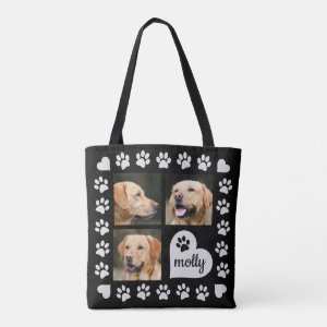 3 Photo Collage Dog Name Black Heart Tote Bag