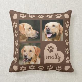 3 Photo Collage Dog Name Brown Heart Throw Pillow