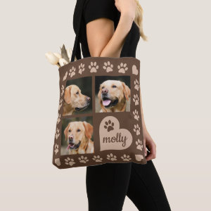 3 Photo Collage Dog Name Brown Heart Tote Bag