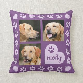 3 Photo Collage Dog Name Purple Heart Throw Pillow