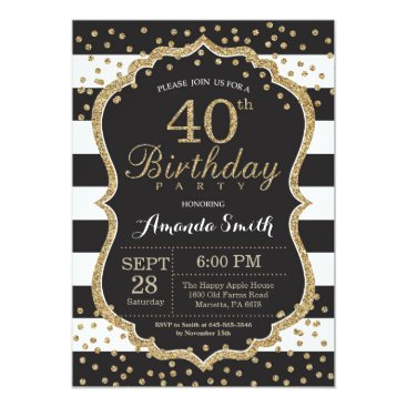 40th Birthday Invitation. Black and Gold Glitter Card